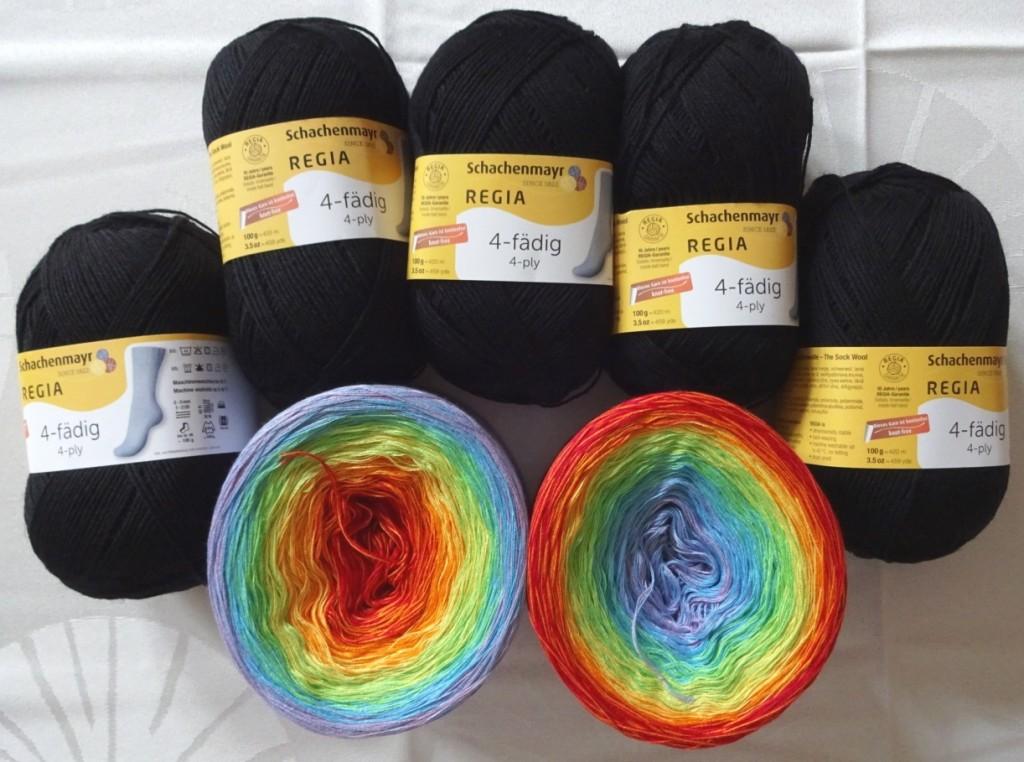 Wolle für Regenbogendecke
